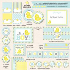 Yellow Rubber Ducky Baby Shower - DIY Printable Party Pack