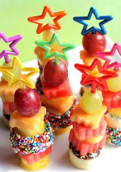 Rainbow Star Cake Pop Sticks, Dessert Skewers, Party Picks  (set of 14). $3.00, via Etsy.