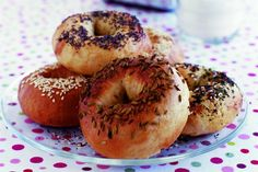 Make a batch of these low-fat bagels to help stave off mid-morning hunger pangs, from BBC Good Food Bbc Good Food Recipes, Great Recipes, Cooking Recipes, Favorite Recipes, Cooking Videos, Cheese Recipes, Vegan Recipes, Brunch Recipes, Dinner Recipes