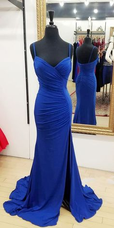 split side royal blue prom dresses long