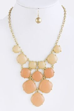 peach and gold and neckless  | Necklace-Peach square jewel necklace, peach jewel necklace, peach ...