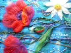 """Wildflowers"" Fragment of Nuno Felt Art Scarf by Lucy Morar"