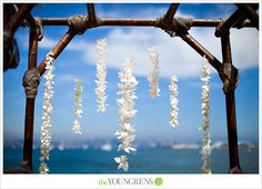 beach ceremony arch with strung orchids