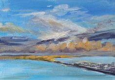 "Over Chesil Beach. Small painting in oil on canvas 6"" x 10"" by @Podi Lawrence"