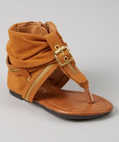 This IZZY Light Brown Zipper Sandal by IZZY is perfect! #zulilyfinds