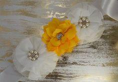 White and Yellow Maternity Sash/ Lace Sash/ Pregnancy/