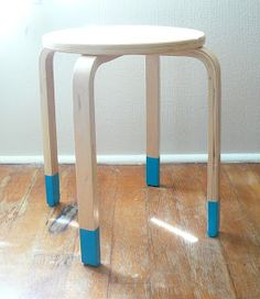 "Hand-dipped makeovers for Ikea tables (or stools or...).  Also see tip about ""Plasti-Dip"" for a rubberized, scratch-resistant finish:  http://thecraftsdept.marthastewart.com/2010/07/dipping.html (But you'll need a way to hang them to dry.)"