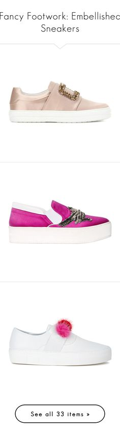 """""""Fancy Footwork: Embellished Sneakers"""" by polyvore-editorial ❤ liked on Polyvore featuring embellishedsneakers, shoes, sneakers, satin shoes, black slip on sneakers, slip on trainers, black sneakers, embellished shoes, fuchsia and pull on shoes"""