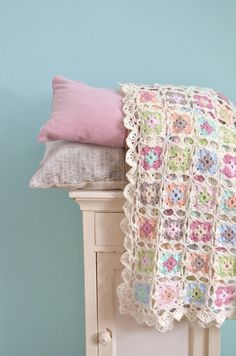Baby blanket- Love the pastel colors with antique white.