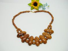 Vintage wooden necklace boho style necklace by MoniceBoutique