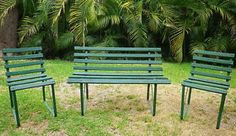 Vintage Wrought Iron/Timber Garden Bench and Chairs Set