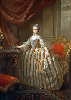 Maria Luisa of Parma (1751–1819), Later Queen of Spain  Laurent Pécheux  (French, Lyons 1729–1821 Turin), 1765. Maria Luisa, who was the granddaughter of both Philip V of Spain (1683–1746) and Louis XV of France (1710–1774), is depicted here in striped floral brocade. The decoration of the Hapsburg order of the Croix-Étoilée, which she wore all her life, is pinned to her dress and she holds a snuffbox with a miniature of her future husband in her right hand.