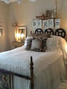 .Idea for making this bedspread, found really cheap lace curtains, sew them for bottom part onto a shorter top part like this.