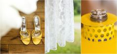 Yellow wedding ideas! Love these yellow bridal shoes! Click to view more of this yellow wedding!