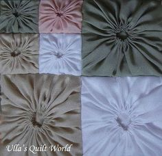 Ulla's Quilt World: Square Yo-Yo pattern, Quilted Pillowcase