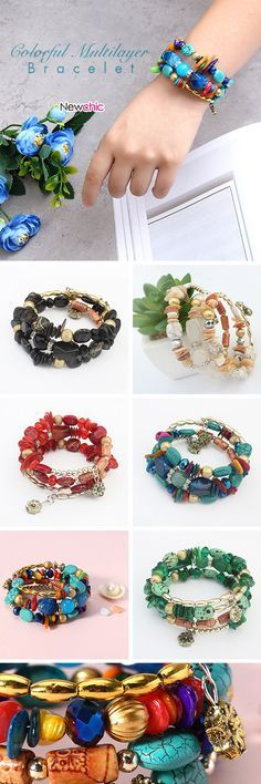 [Newchic Online Shopping] 53%OFF Colorful Bohemian Multilayer Bracelet