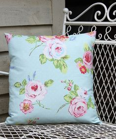 English rose duck egg cushion cover
