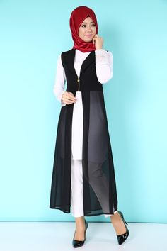 Tread Laser Cutting Vest – Best Of Likes Share Islamic Fashion, Muslim Fashion, Modest Fashion, Modele Hijab, Hijab Collection, Fancy Gowns, Hijab Style, Long Black Vest, Dress Neck Designs