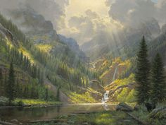 Rocky Mountain Majesty by Mark Keathley ~ waterfall lake pines sunrays