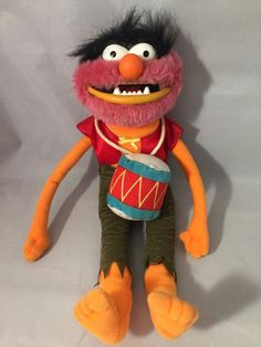 """Muppets Drummer """"Animal"""" 16-inch Stuffed Plush Doll, Muppet Show, Movie, w/Chain #JimHensonsMuppets"""