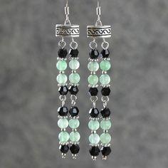 Jade Linear long dangling earring bridesmaids by AnniDesignsllc