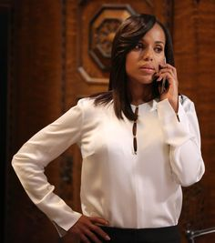 """Derek Lam"" blouse worn by Olivia Pope (Kerry Washington) on Scandal, season 4."