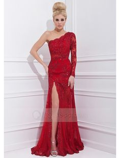 One Shoulder One Sleeve Split Front Sweep Train Lace Dress with Beaded - Red Prom Dresses Cheap Sale