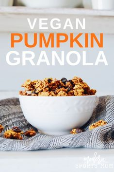 Fall is in the air with this delicious homemade Vegan Pumpkin Granola recipe. It's easy to make and can be part of any clean eating plan! #vegan #pumpkin #granola