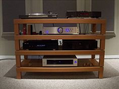 Awesome home built HIFI rack made of IKEA lack coffee tables.