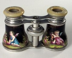 Antique French Kiln-fired Enamel Opera Glasses, Putti and Crossed Torches, Cupid, Angels  Photo credit: Antiques & Uncommon Treasure
