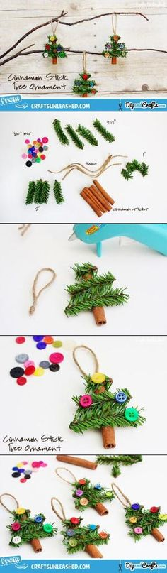Cinnamon Stick Tree Christmas Ornaments | #DIY by virnori