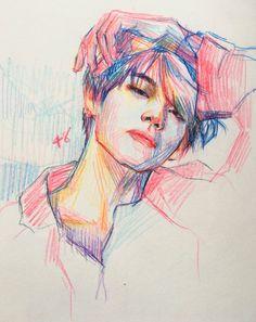 V taehyung colored pencils polychromos Kpop Drawings, Pencil Art Drawings, Drawing Sketches, Drawing Ideas, Fanart Bts, Taehyung Fanart, Art Du Croquis, Color Pencil Art, Colour Drawing