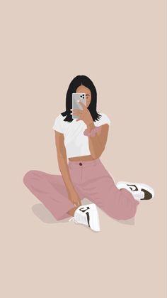 Cute Wallpaper Backgrounds, Cute Girl Wallpaper, Cute Cartoon Wallpapers, Portrait Illustration, Illustration Girl, Friends Illustration, Digital Art Girl, Cartoon Art Styles, Diy Canvas Art