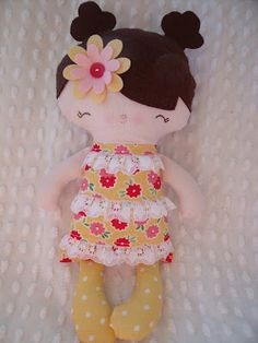 cloth doll--a tiny friend made by me using a bit of whimsy pattern