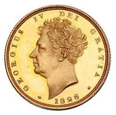 The gold Sovereign with the third effigy of H.M King George IV, designed William Wyon.