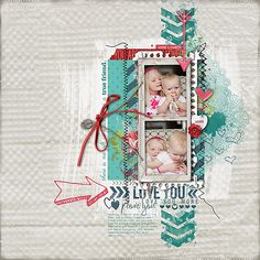 #layer #scrapbook #style in this adorable #valentines page from Kayleigh at DesignerDigitals.com