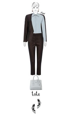 Office outfit: Brown - Gray by downtownblues on Polyvore featuring polyvore fashion style H.Azeem clothing