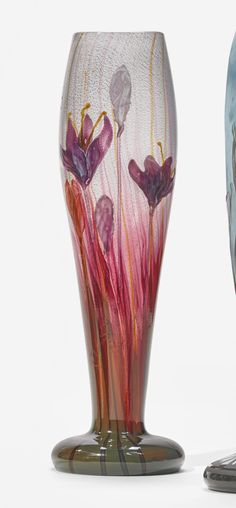 """Émile Gallé """"CROCUS"""" VASE incised Gallé and with retailer's paper label internally decorated wheel-carved cameo glass with marqueterie-sur-verre"""