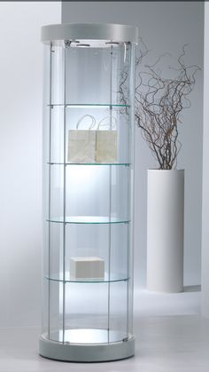 Gl Display Case Shelves Showcase Counter Curved