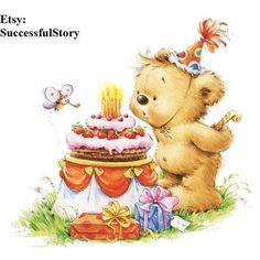 4 Teddy Bear Decoupage Napkins Kids' Paper Napkins Baby Shower Birthday Party Birthday Cake Paper Na