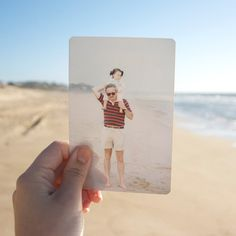 Cool idea for taking a photo holding an old photo in the same location, present day...going to do this with the kids at the beach for sure