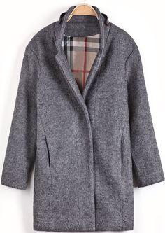 Grey Long Sleeve Leather Embellished Woolen Coat - Sheinside.com