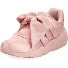 Fenty Puma By Rihanna Trinomic Knotted Bow Satin Sneaker (280 BAM) ❤ liked on Polyvore featuring shoes, sneakers, silver pink, pink shoes, slip on trainers, slip on shoes, round toe sneakers and slip-on sneakers