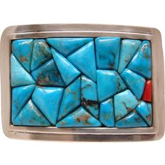 Vintage Sterling Silver Turquoise and Coral Cobblestone Signed Belt Buckle --- found in the Ruby Red Tag Holiday Sale at 50% off until tomorrow, Tuesday, Nov 29th at 8 am PT. #RubyRedTagSale www.rubylane.com