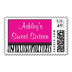 Pink and Black Zebra Polka Dot Sweet 16 Birthday Postage. Wanna make each letter a special delivery? Try to customize this great stamp template and put a personal touch on the envelope. Just click the image to get started!
