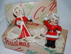 Napco Ceramic Salt Pepper Santa Carollers, love the original box!