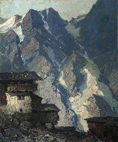 'Berghof vor Gletscherlandschaft' (1930-32) by Oskar Mulley