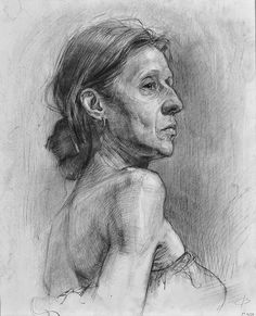 Russian academic drawing of mature woman portrait profile