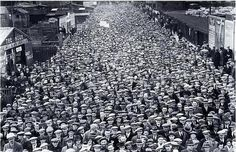Aberdeen fans queuing outside Pittodrie Stadium, 1930s.