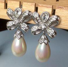 Christian Dior Drop Pearl Clip Earrings  #Wedding by junquegrl